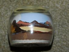 PAINTED DESERT SANDS GLASS PAPERWEIGHT HAND MADE BY AN AMERICAN INDIAN