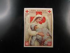 poster stamp cinderella vignette  croix rouge 1916 st pierre miquelon red cross