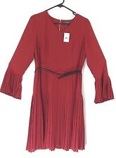 The Limited Sz 6 Womens Shift Dress Long Sleeve Red Pleated w Belt