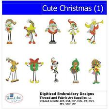 Embroidery Design CD - Cute Christmas(1) - 10 Designs - 9 Formats - Threadart