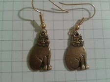 """OLD GOLD   PLATED"""" FAT CATS"""" EARRINGS ON GOLD PLATED HOOKS"""