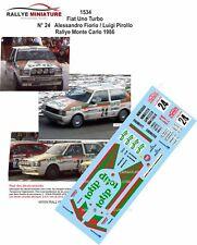 DECALS 1/24 1534 Fiat Uno Turbo N° 24  Fiorio  Pirollo Monte Carlo 1986