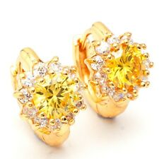 Anniversary Small Round Cubic Zircon Gold Plated Lady Girl Jewelry Hoop Earrings