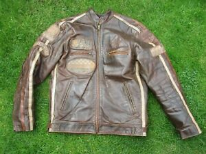 MENS AVIATRIX SIZE S BROWN LEATHER MOTORCYCLE ZIP FRONT OUTERWEAR JACKET
