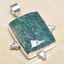 "Handmade Phantom Crystal Quartz Lodolite Green Moss Agate 2"" Pendant #P05294"