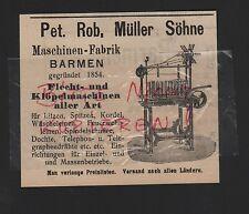BARMEN, Anzeige 1909, Pet. Rob, Müller Söhne Maschinen-Fabrik