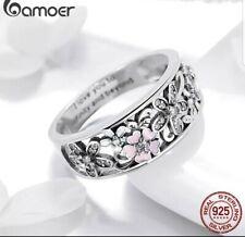 9bfd1b628d8f Bamoer Moda Plata Esterlina 925 Daisy Flower   Infinity Amor Pave dedo.