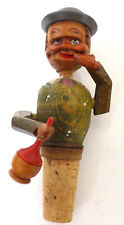Vintage Wood Mechanical Bottle Stopper Man Smoking Cigar Drinking Chianti Wine