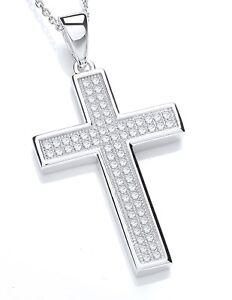 Sterling Silver Chain Necklace Cubic Zirconia Faith Cross Charm Pendant J JAZ