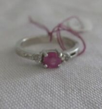 size 7 Pink SAPPHIRE & White TOPAZ  STERLING Silver RING QVC #B11 w/COA .98ct