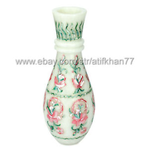 Mother of Pearl Bud Vase for Centerpiece Marble Inlay Pink Flower Vases