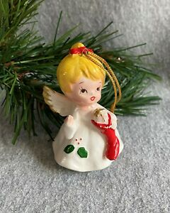 """Handpainted Angel Christmas Tree Ornament Blond Red Stocking Holly 3"""" Inc Loop"""