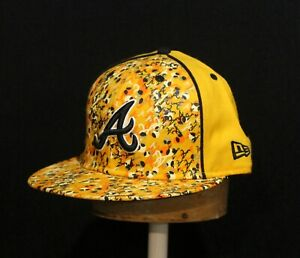 Atlanta Braves Black Yellow All Over Print New Era 59FIFTY Fitted Hat Cap 7 3/8
