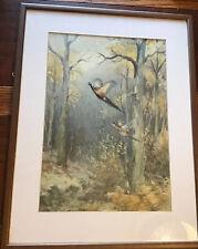 Artist Roland Green Professionally Framed Print Pheasants Taking Flight