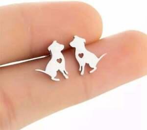 Dog Puppy Silver Earrings Cute Dog Heart Earrings Stainless Steel Dog Lover Gift