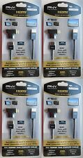 4 x PNY HDMI CABLE 3.6m 12ft LONG 1080p + mini/micro adapter high speed