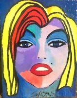 MARILYN MONROE PAINTING Original SWARTZMILLER DNA SIGNED Pop Art Wall OUTSIDER