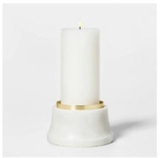 """NEW Genuine Marble Candle Holder-White/Gold 5""""W x 2.3/4""""H - By Threshold"""
