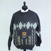 ENRICO LEONI Mens Grey Argyle Winter Crew Neck Jumper Sweater Pullover SIZE XL