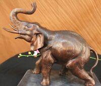 Collectible Statue bronze sculpture Animal Large Signed African Elephant Deco