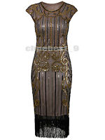 Sequin Beads Tassel Vintage 1920s Flapper Dress Gatsby Evening Dresses Plus Size