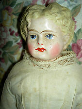 "Wonderful antique, paper mache papiermache doll 15"" deep curls, 1880s all orig."