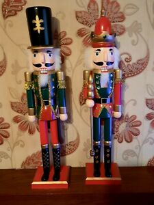 TWO CHRISTMAS SOLDIERS NUTCRACKER ORNAMENTS