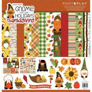 GNOME THANKSGIVING Collection Pack 12X12 Scrapbooking Kit Photo Play GNT2257 New