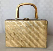 1950s Lesco Lona Purse Tan Coated Woven Wicker Lucite Or Bakelite Trim & Handles