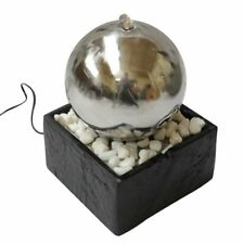 Orb Indoor Tabletop Water Feature With LED Light and Stone Base
