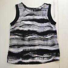 Milano Womens Blouse Medium Sleeveless Black & White Tank Top Shirt