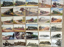 Lot016 - Railway - Steam Trains - Engines - 30 postcards many artist drawn