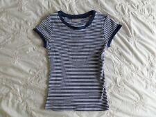 Matalan Girls Blue Striped 100% Cotton Short Sleeve T-Shirt Size 4-5 Years
