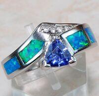 Blue Sapphire & Australian Opal Inlay 925 Sterling Silver Ring Jewelry Sz 6 RR-1