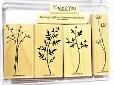 Stampin Up STEM SILHOUETTES wood mount stamps flower stems berry branch garden