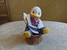 Enesco Duck with Saw & Bow Salt Pepper Shakers - never used - Animal Band Series