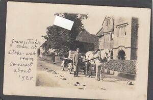 Postcard Stoke under Ham or sub Hamdon nr Crewkerne Somerset horse cart 1920s RP