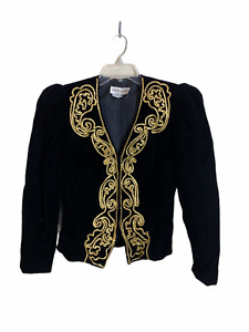 VTG 1980's MORTON MYLES for THE WARRENS Black Evening Top Jacket Gold Trim Sz 14