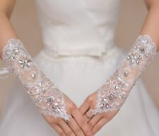 A pair white or off white beaded wedding lace gloves floral bridal lace gloves