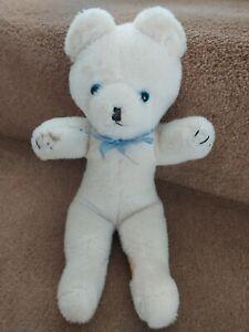 """VINTAGE 12"""" WENDY BOSTON WHITE BLUE EYES RIBBON TEDDY BEAR SOFT TOY"""