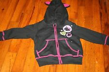 HOLIDAY EDITIONS GIRLS 12 MONTH CAT ZIP UP HOODIE WITH CAT EARS NWT HALLOWEEN