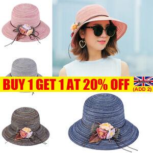 Women Ladies Summer Wide Brim Straw Hat Floppy Derby Foldable Beach Sunhat Cap