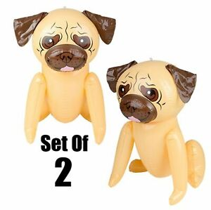 """(Set Of 2) 24"""" Tan Pug Puppy Dog Inflatable - Blow Up Toy Party Decoration"""