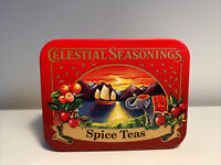 Vintage Celestial Seasonings Spice Teas Metal Tin Box Case Travel Red Ship Fruit