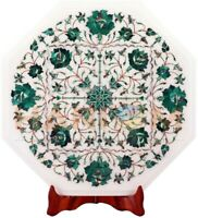 "14"" White Marble Side Coffee Table Top Malachite Floral Inlay Garden Decors W513"
