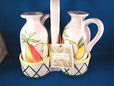 CRUET SET Oil and Vinegar Ceramic with Holder Caddy NIB Olive & Thyme @25