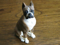 "FINE DETAILED PORCELAIN CHINA HANDPAINTED 3 3/4"" X 1 1/8"" X 2""BOXER-DOG FIGURINE"
