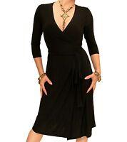New Elegant Slinky V Neck Wrap Dress - 3/4 Length Sleeve