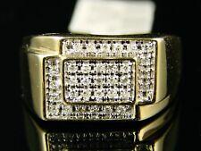 10 Quilates Hombre Oro Amarillo Meñique Alianza Anillo con Diamante