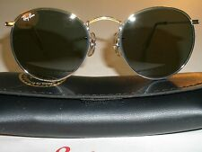 50MM VINTAGE B&L RAY BAN G15 SHINY SILVER WIRE ROUND AVIATOR SUNGLASSES w/CASE